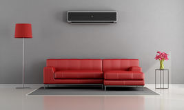 Living room with air conditioner Stock Photos
