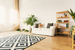 Living room in apartment. Original living room with hammock in bright natural apartment royalty free stock images