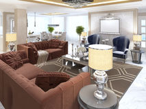 Living room in art Deco style with upholstered designer furnitur Royalty Free Stock Images