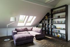 Living room in the attic Royalty Free Stock Image