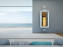 Living room with battery and coins in financial freedom concept. 3D rendering of interior with sofa Stock Images