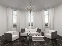 Living room with bay window, chandelier and couch Stock Images