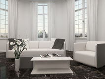 Living room with bay window and white couch Royalty Free Stock Photography