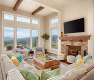 Living Room with Beautiful View in New Home stock photo