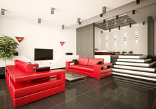 Living room and bedroom interior 3d Royalty Free Stock Image