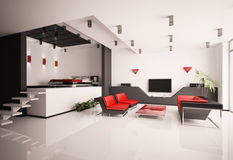 Living room and bedroom interior 3d Royalty Free Stock Photography