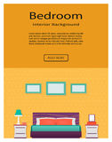 Living room bedroom interior with furniture website banner. Home design concept. Royalty Free Stock Photo