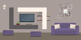 Living room in beige colors with a sofa and a home cinema Stock Images