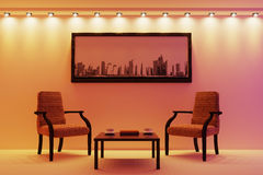 The living room in beige tones. 3d illustration Stock Photos