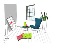 Living room. Big  and nice living room  paint hand illustration Stock Photography