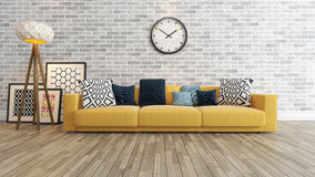 Living room with big watch on white brick wall 3d rendering Stock Photography