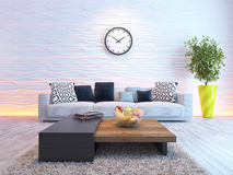 Living room with big watch on white wave wall. Living room or saloon interior design with seat or sofa and wave wall 3d rendering Stock Images