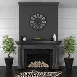 Living room with black fireplace in classic style Royalty Free Stock Images