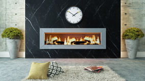 Living room with black marble fireplace decor design Royalty Free Stock Images