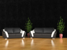 Living room with black walls Stock Images