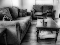 Living Room in black and white Stock Images
