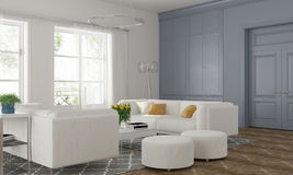 Living room with blue wall Stock Images