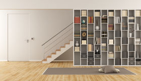Living room with bookcase and staircase. Modern Living room with bookcase ,staircase and closed door - 3d rendering Royalty Free Stock Image