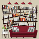 Living room bookshelves. Living room with furniture flat style vector illustration vector illustration