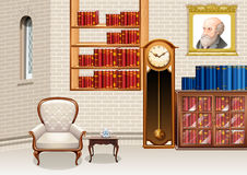 Living room with bookshelves and furnitures Royalty Free Stock Images