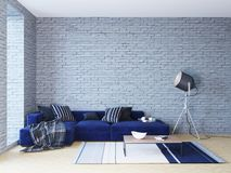 Living room in brick walls loft interior with navy sofa and sofit lamp Stock Image