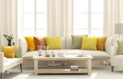 Living room with bright cushions. Living room with white sofa and bright cushions stock image
