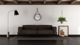 Living room with brown sofa. Living room with brown leather sofa on dark wood parquet - 3d rendering Stock Photo