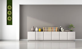 Living room with cabinet. And vertical garden  - 3D Rendering Stock Photography