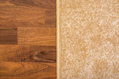 Living Room Carpet On Parquet. Living Room Carpet On Wood Parquet Close Up Royalty Free Stock Photo