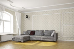 Living room with cctv camera. And grey sofa Stock Photos