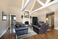 Living room with ceiling beams Stock Photos