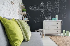 Living room with chalkboard decor Stock Images