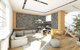 Living Room   With Chimneu. Living Room In Grey With Chimneu Royalty Free Stock Image