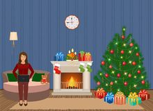 Living room christmas decorated interior with woman working on a laptop. People at home in xmas eve. Vector illustration in flat style Stock Images