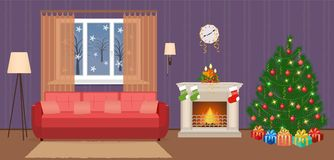 Living room christmas decorated interior with woman working on a laptop. People at home in xmas eve. Vector illustration in flat style Stock Photos