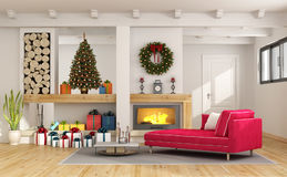 Living room with christmas decorations Stock Image