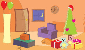 Living room at Christmas eve. Vector illustration of a living room with TV turn on at Christmas Eve Stock Images