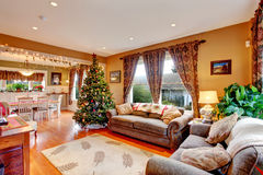 Living room on Christmas eve Stock Images