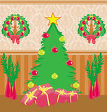 Living room at Christmas time. Royalty Free Stock Images