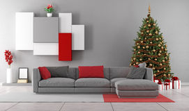 Living room with christmas tree Royalty Free Stock Images