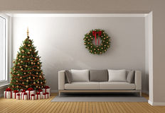 Living room with christmas tree Stock Photo