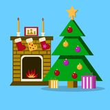 Living room with Christmas tree, fireplace. Vector flat illustration. EPS Stock Image
