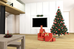 Living room with christmas tree Royalty Free Stock Image