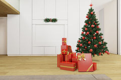 Living room with christmas tree Royalty Free Stock Photos