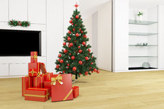 Living room with christmas tree Stock Photos
