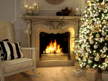 Living room at Christmastime. 3d rendering Stock Image