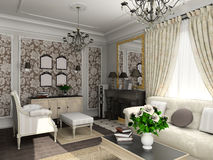 Living-room with the classic furniture Royalty Free Stock Images