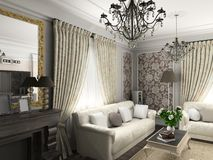 Living-room with the classic furniture Stock Images