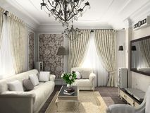 Living-room with the classic furniture. 3D render. Living-room Stock Photos