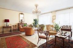 Living room, classic italian interior with antiquities Stock Images